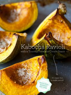 Kabocha Ravioli with a Toasted Hazelnut Cream Sauce.