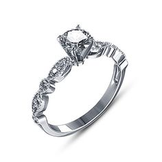 Round Simulated Diamond Silver Plated Solitaire W/Accents Engagement Ring GIFT #aonebianco #EngagementRing