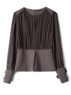 Buy Long Sleeve Blouses For Women from SWChic at Stylewe. Online Shopping Stylewe Long Sleeve 1 Dark Brown Women Blouses For Work Crew Neck Polyester Elegant Elegant Paneled Daily Blouses, The Best Daily Blouses. Discover unique designers fashion at style Trendy Tops For Women, Blouses For Women, Bluse Outfit, Fancy Tops, Casual Day Dresses, Stylish Shirts, Iranian Women Fashion, Work Blouse, Blouse Designs