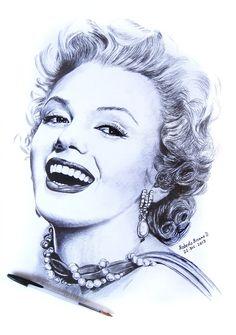 Marilyn Monroe, by RobertoBizama - drawn in BIC ballpoint pen   This image first pinned to Marilyn Monroe Art board, here: http://pinterest.com/fairbanksgrafix/marilyn-monroe-art/    #Art #MarilynMonroe