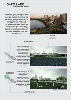 WEEK 2 Igapó Lake in Londrina/PR - Brasil. Recreation area that has a connection problem between the lake and an empty landfill. Improvements are designed to make the place more connected, accessible, diverse and sociable.