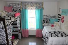 Ole Miss Dorm Room : Black Gold Tiffany Pink Dorm Room   Sorority and Dorm Room Bedding - Dorm Sitting Area Dorm DIY