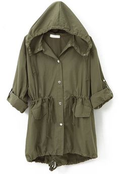 Army Green Hooded Drawstring Embroidery Trench Coat - Sheinside.com
