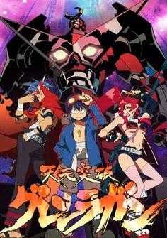 """Gurren Lagann"", known in Japan as ""Tengen Toppa Gurren Lagann"" (天元突破グレンラガン Tengen Toppa Guren Ragan, literally ""Heaven-Piercing Gurren Lagann""), is a Japanese mecha anime television series animated by Gainax and co-produced by Aniplex and Konami. Mecha Anime, Code Geass, Gurren Lagann Anime, Die Simpsons, Gurren Laggan, Yoko Littner, Haruhi Suzumiya, Animes On, Art Anime"