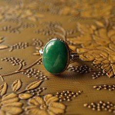 Natural Oval Green #Jade Silver Ring