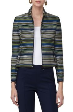 Free shipping and returns on Akris punto Paracas Stripe Crop Jacket at Nordstrom.com. Graphic stripes accentuate the clean lines and cropped proportions of a cotton-blend jacket styled with a ruched, face-framing collar. Ring-pull zippers at the front and slash pockets supply a bit of Akris punto's signature sporty flair.