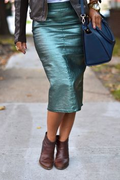 Metallic Coated Denim Skirt
