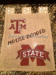 Burlap Garden Flag   House Divided   College Football   Texas Au0026M And  Mississippi State