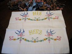 WOW! SET 2 Antique/Vintage HIS & HERS BLUE BIRD FLORAL EMBROIDERY PILLOWCASES