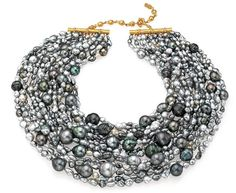 Mish, shades-of-gray Tahitian keshi and baroque pearls with an 18-karat gold and diamond clasp