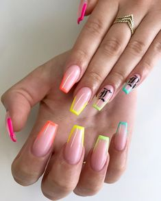 For my client who literally only has white gels every time, I'm proud of you 💖🤣 ***All Nail Art is painted freehand***… Neon Acrylic Nails, Simple Acrylic Nails, Acrylic Nails Coffin Short, Neon Nails, Summer Acrylic Nails Designs, French Tip Acrylic Nails, Nails Now, Aycrlic Nails, Swag Nails