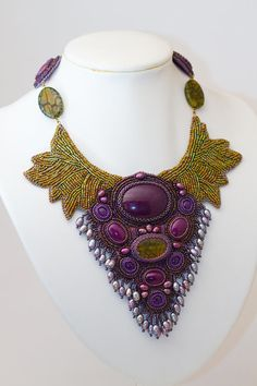 Bead embroidered collar Statement necklace Purple and by Sofija