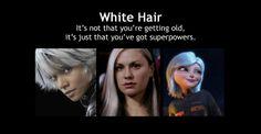 """White Hair"" (by Jennifer Frederick) Storm--X-Men. Rogue--X-Men. Susan/Ginormica--Monsters vs. Aliens."