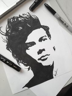 Baby girl wants to make her jack-o-lantern look like harry styles! Sharpie Drawings, Sharpie Art, Pencil Art Drawings, Drawing Sketches, Marker Drawings, Sharpie Projects, Sharpie Doodles, Eye Sketch, Flower Drawings
