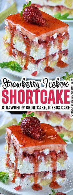 No Bake Strawberry Shortcake Icebox Cake! Layers of whip cream and cream cheese with fresh strawberries. #strawberry #shortcake #icebox #cake Icebox Cake Recipes, Frosting Recipes, Cheesecake Recipes, Cookie Recipes, Dessert Recipes, Strawberry Icebox Cake, Strawberry Desserts, Frozen Desserts, Strawberry Shortcake