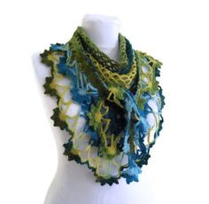 crochet bufanda flor tejido a mano moda 2014 por likeknitting