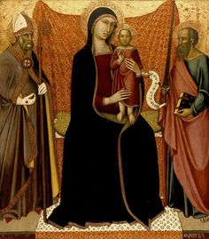 Artist	  Luca di Tommè (fl. 1356–1389)   Title	  Madonna and Child with Saints Nicholas and Paul.  Date	  c. 1370  Medium	  tempera on panel