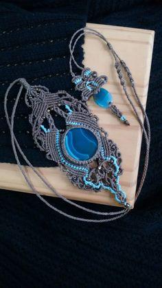 Colar Ágata azul | Terral | Elo7