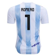 02d661ceb Sergio Romero 1 2018 FIFA World Cup Argentina Home Soccer Jersey Erik  Lamela
