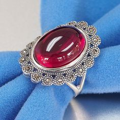 925 Handmade Sterling Silver Marcasite Simulated Ruby Cabochon oval shape filigree ring jewelry for women with milgrain work
