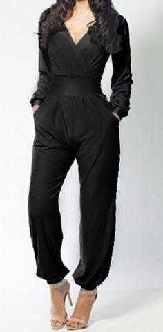 Sexy Plunging Neck Long Sleeve Solid Color Pocket Design Women's Jumpsuit #Black #Jumpsuit #Pocket #Fashion #Stylish