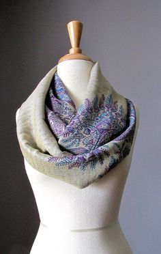 Fern scarf  infinity scarf in Beige and Purple  by ScarfObsession