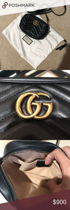 f0319acbc37e Gucci GG marmont bag Perfect condition dust bag Black mini Gucci Bags  Crossbody Bags