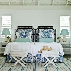 Bedroom design idea - Discover home design ideas, furniture, browse photos and plan projects at HG Design Ideas - connecting homeowners with the latest trends in home design & remodeling Guest Bedrooms, Beautiful Bedrooms, Home, Tropical Home Decor, Beach House Interior, House Interior, Coastal Bedrooms, Island Bedroom, Home Interior Design