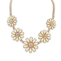Women's Rhinestone Floral Chain Short Statement Necklace