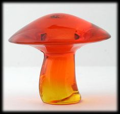 Viking Art Glass Mushroom Paperweight Persimmon Orange 1960's Vintage