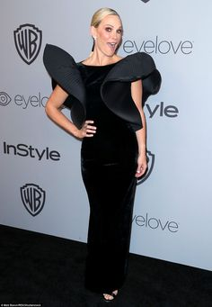 Wow factor: Molly Sims' dress looked like a piece of artwork with its spectacular sleeves...