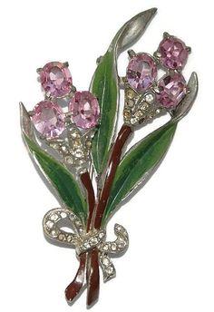 Coro Enamel Pink Rhinestone Floral Pin Brooch 1940's
