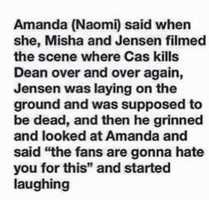 While filming the scene where Car kills Dean over and over...