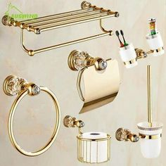 Cheap bathroom hardware set, Buy Quality bathroom hardware directly from China bathroom accessories Suppliers: European Gold Bathroom Hardware Set Antique Crystal Bathroom Accessories Wall Mounted Polish Finish Brass Bathroom Products Brass Bathroom Fixtures, Bathroom Hardware, Gold Hardware, Gold Bathroom Accessories, Crystal Decor, Clear Crystal, Bathroom Sets, Messing, Antique Gold