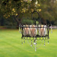 DIY Outdoor Chandelier Of Mason Jars. I love mason jars. I Want to throw a party based on mason jars. Wire Basket Chandelier, Outdoor Chandelier, Candle Chandelier, Outdoor Lighting, Outdoor Decor, Lighting Ideas, Chandeliers, Homemade Chandelier, Chandelier Ideas