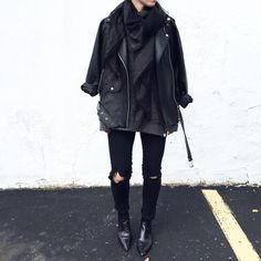 Black layers. Acne Studios Jensen boots and Velocite Jacket. Street Style - OVRSLO