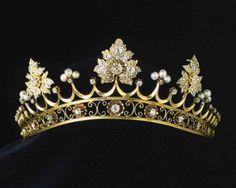 White and Gold Wedding Crown, Tiara.   strawberry tiara