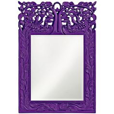 "Howard Elliott Oakvale 17"" x 25"" Royal Purple Wall Mirror ($200) ❤ liked on Polyvore featuring home, home decor, mirrors, purple, howard elliott mirror, interior wall decor, purple wall mirror, rectangle mirror and rectangular mirrors"