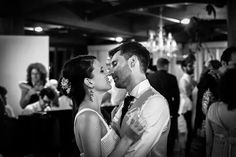 Romance black and whit first dance pic photo wedding kiss bride groom love dress pearl
