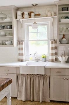 Sink curtain, silver hardware, open shelves