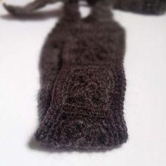 No Slip Crochet Headband, Boho Knit Hairband in Fuzzy Dark Gray Wool, Mohair Blend