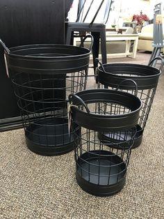Black Metal Barrell Basket Med - Niche Market Furniture