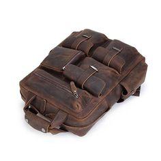 ROCKCOW Handmade Vintage Leather Backpack, Travel Backpack, Leather Backpack B827
