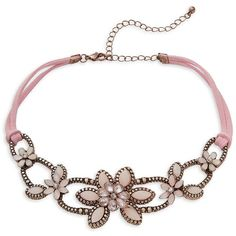 Design Lab Lord & Taylor Crystal and Leather Flower Choker Necklace ($22) ❤ liked on Polyvore featuring jewelry, necklaces, pink, leather choker necklaces, leather pendant necklace, leather choker, crystal pendant and crystal necklace