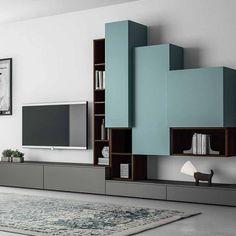 Elegant 'Pyramid' TV Unit by Dall'Agnese Home Room Design, Dining Room Design, Home Interior Design, House Design, Tv Wall Design, Tv Unit Design, Muebles Rack Tv, Home Decor Furniture, Furniture Design