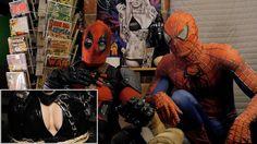 DEADPOOL vs BATMAN - REACTION SPANDEX - with SPIDER-MAN and DEADPOOL