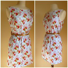 Blue floral 1940's vintage inspired sun dress by ErikaShaw on Etsy