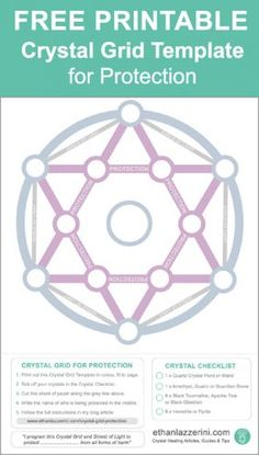How To Make A Crystal Grid For Protection (Free Template) - Ethan Lazzerini Gems And Minerals, Crystals Minerals, Crystals And Gemstones, Stones And Crystals, Gem Stones, Crystal Healing Stones, Crystal Magic, Crystal Grid, Quartz Crystal