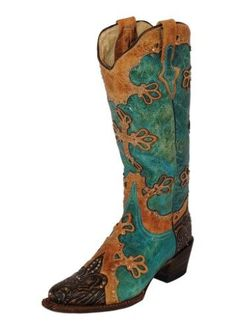 Ferrini Western Boots Womens Diva V Toe 9.5 B Turq Brown 83361-50, Size: 9.5 B(M) US, Blue