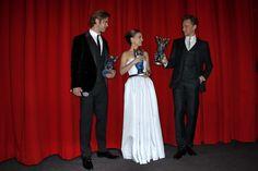 Tom Hiddleston, Chris Hemsworth and Natalie Portman attend THOR: The Dark Kingdom Germany premiere at CineStar on October 27, 2013 in Berlin, Germany